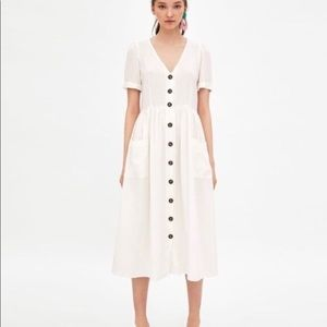 Zara trf linen button front midi dress